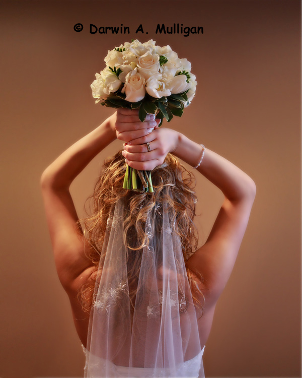 Edmonton Wedding Flowers: Bride Photographed From Rear With Flowers