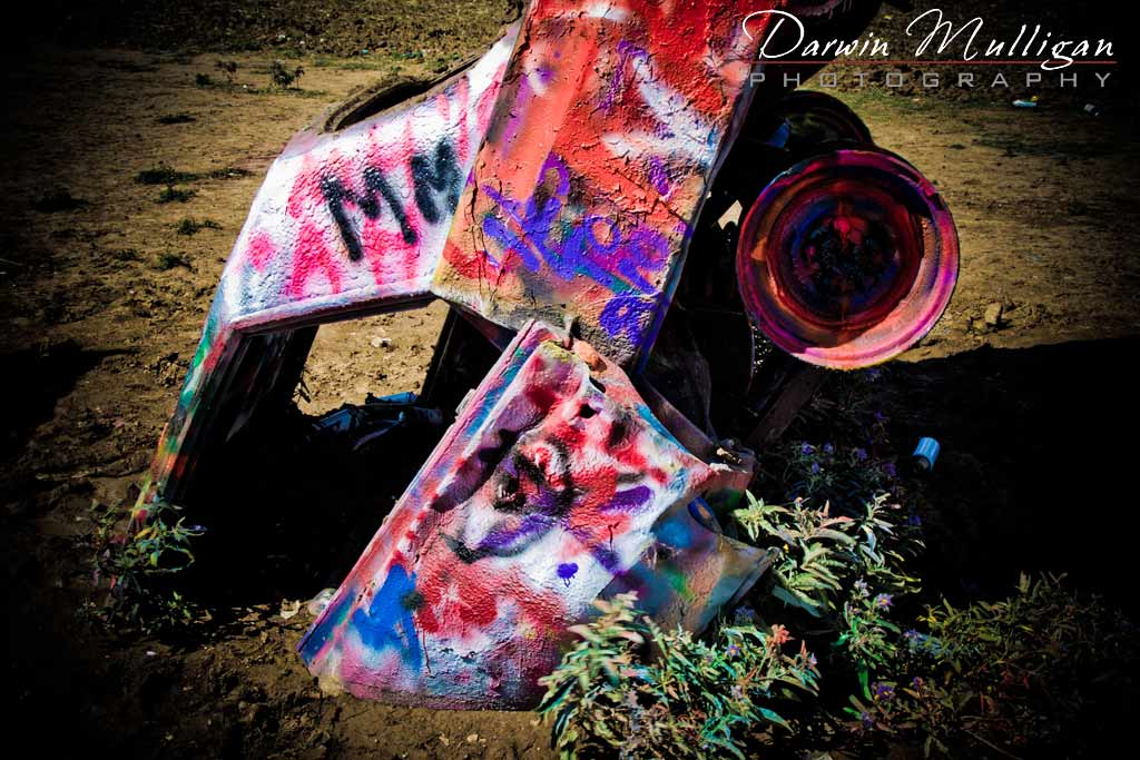 Graffiti Cadillac Ranch Amarillo Texas painted car