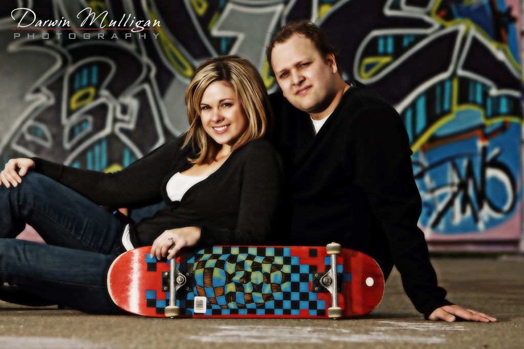 Kerri Lynn and Michael skateboard park engagement photos