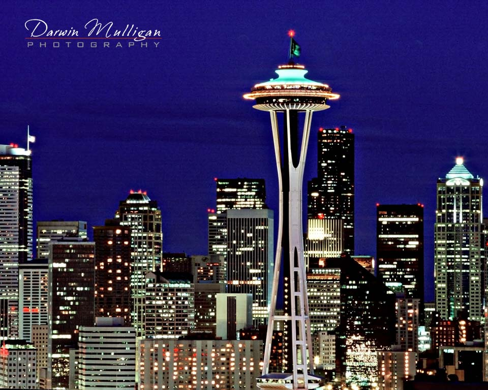 Seattle Space Needle at Night, Washington, USA