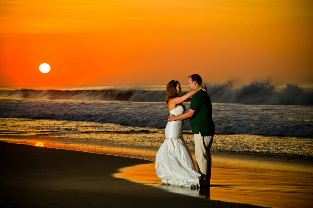 Romantic Kiss at sunrise, trash the dress, Cabo San Lucas, Mexico