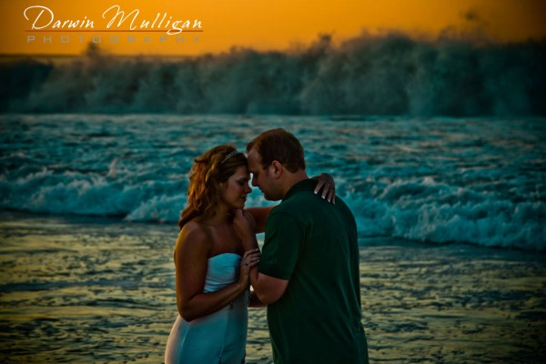 Kerri and Michael's spectacular sunrise trash the dress wedding photograph in Cabo, Mexico