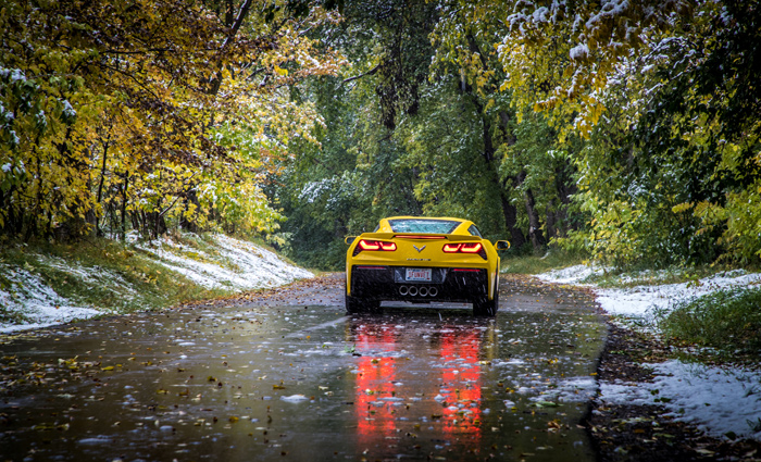 Chevy Corvette Stingray at first snow