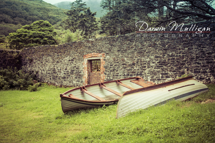 Ireland-Kylemore-Abbey-old-boats-and-wall
