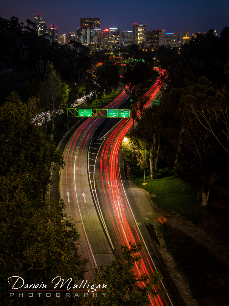 San-Diego-California-Cabrillo-Bridge-downtown-night-tail-lights