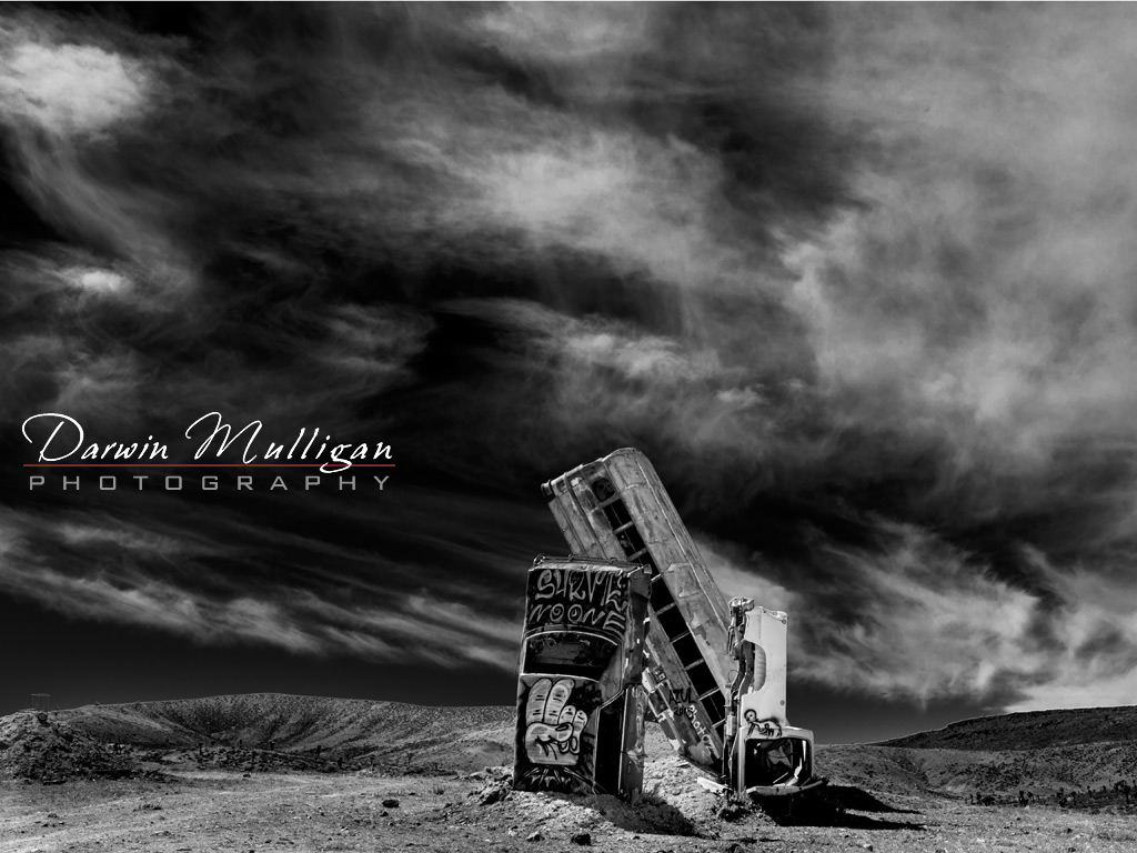 International-Car-Forest-Of-The-Last-Church-Goldfield-Nevada-in-black-and-white