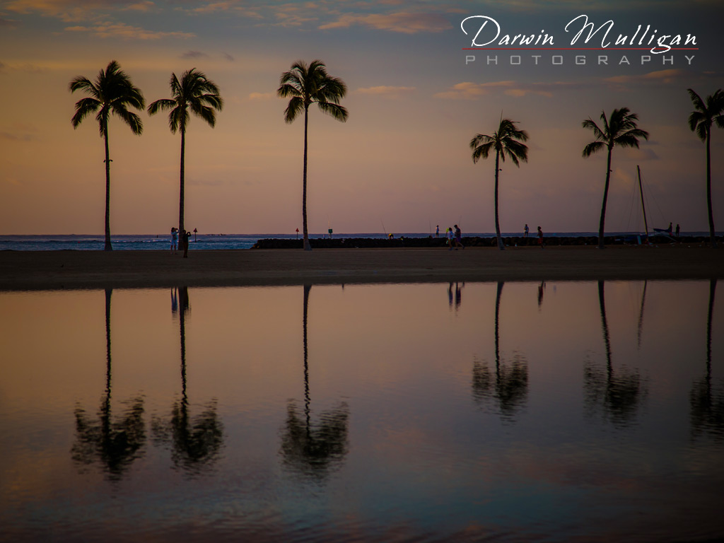 Oahu-Hawaii-Beach-at-Sunset-with-Palm-Trees