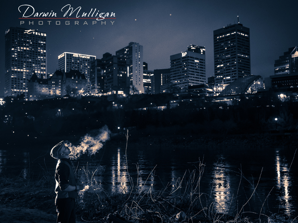 Night photography portrait in Edmonton River Valley