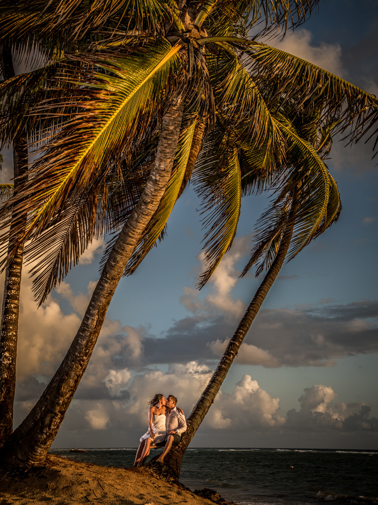 Bride and Groom Trash the Wedding Dress at Punta Cana, Dominican Republic at sunrise