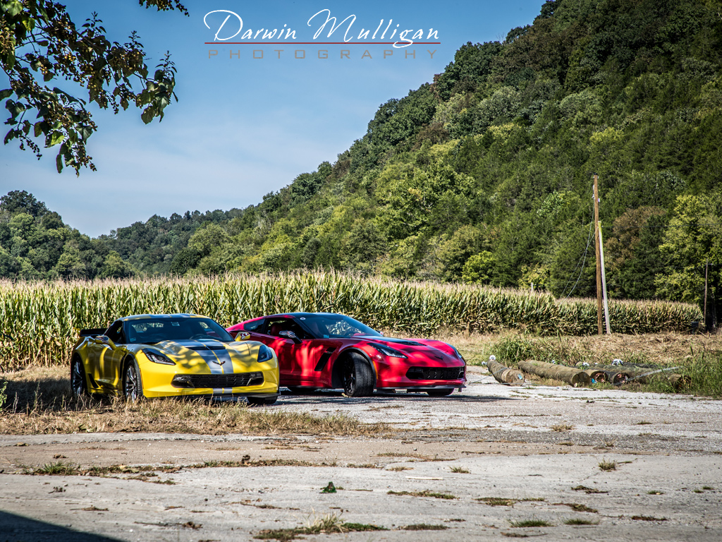 Z06 Corvettes parked by cornfields, Tennessee