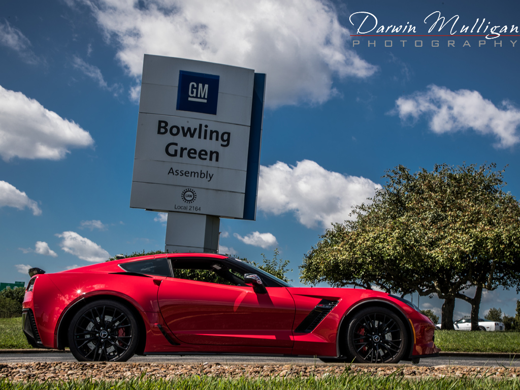 C7 Z06 Corvette by the Bowling Green Assembly Plant sign