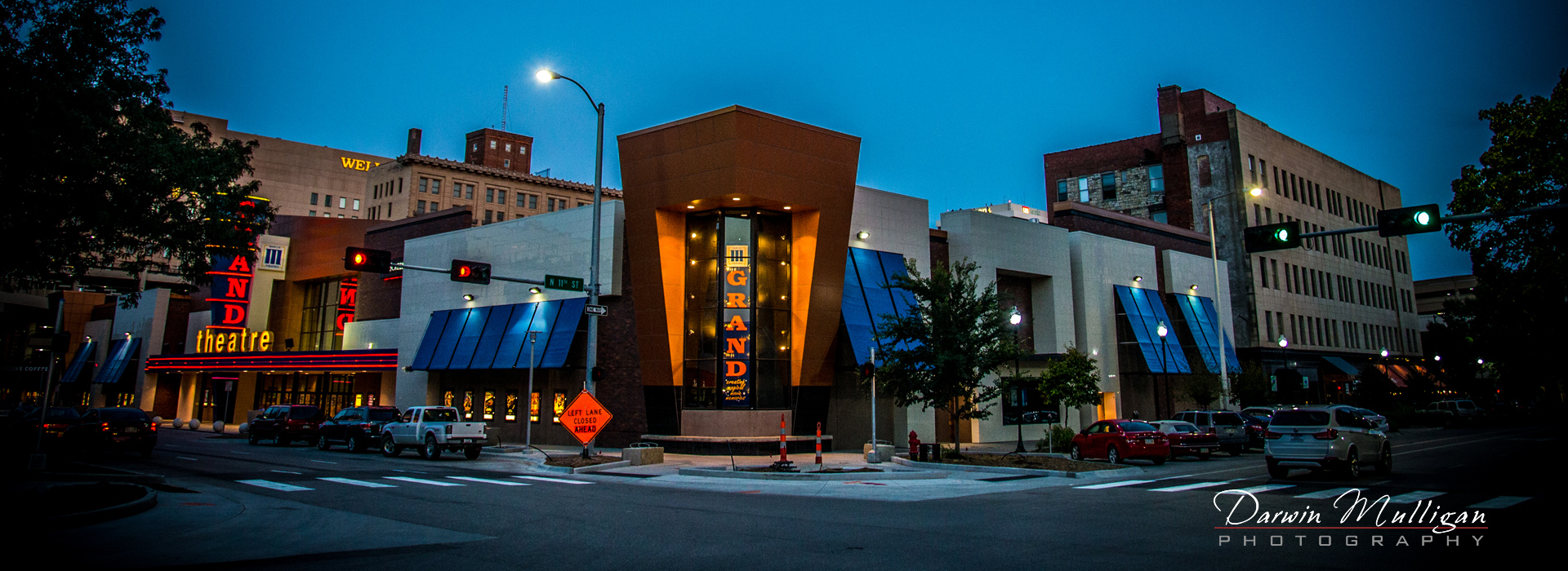 Downtown Lincoln Nebraska. Photographed during blue hour