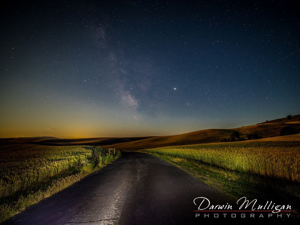 Milky Way and Lightpainting Steptoe Butte State Park Washington