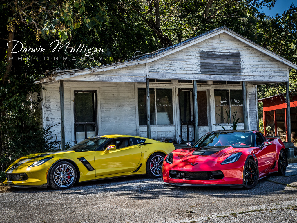 Two Z06 Corvettes Tennessee backroads