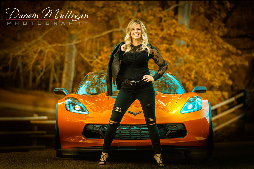 Woman Posing In Front Of Her Chevy Corvette Z06