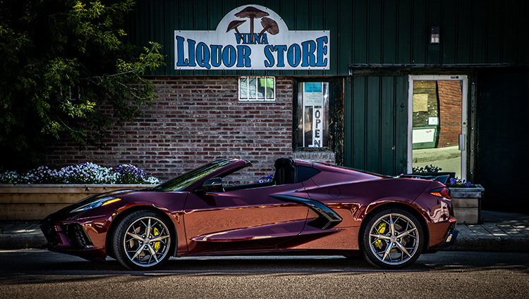 Long Beach Red Corvette C8 Vilna Liquor Store Alberta