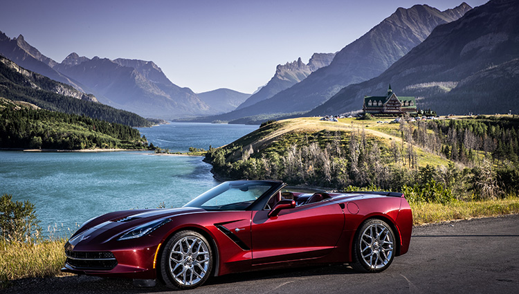 C7 Corvette convertible with top down, Waterton National Park, Alberta