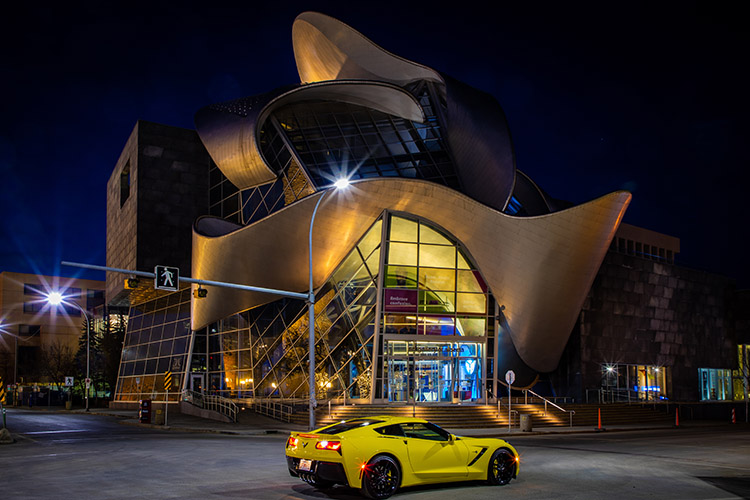 Edmonton Art Gallery of Alberta at Night with Yellow Corvette Stingray