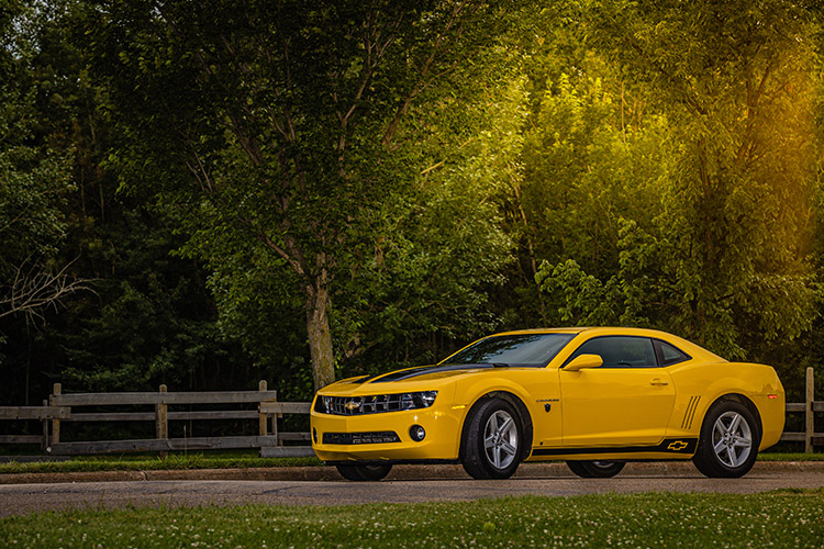 Yellow Transformers Camaro in the Country Early Morning