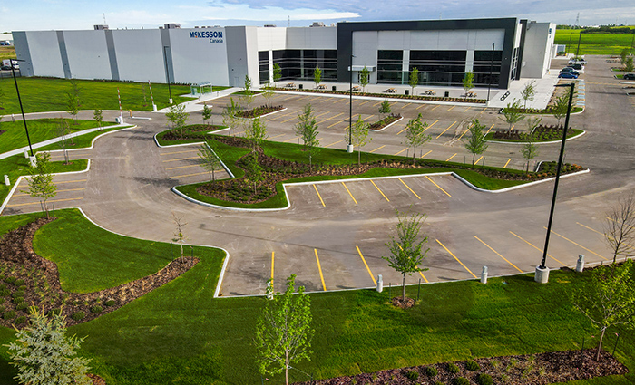 Commercial building, Aerial photography, Drone. Aerial drone photographs offer a unique perspective to showcase landscaping or building architecture